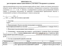 Протокол рассмотрения заявки единственного участника электронного аукциона